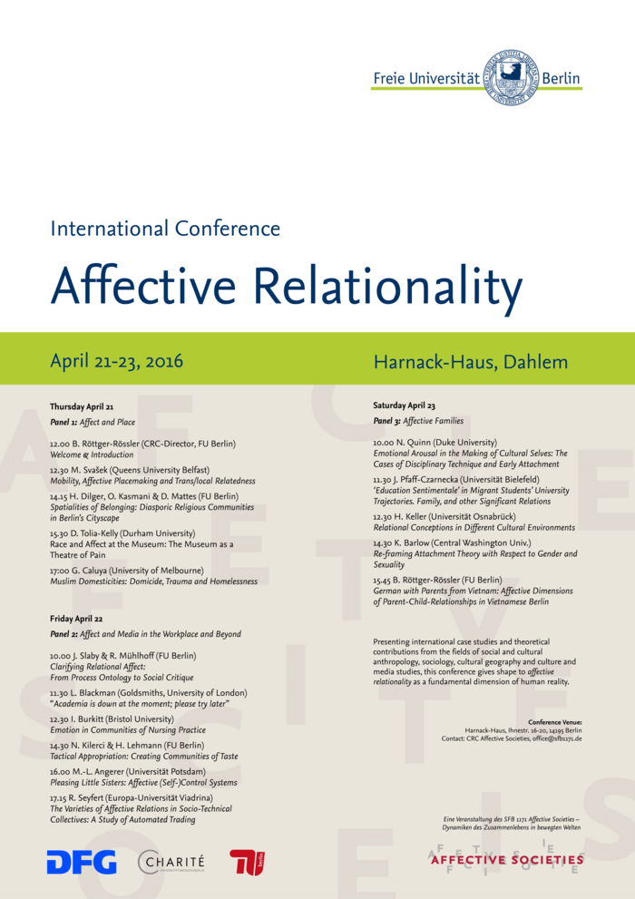 Tagungsposter: Affective Relationality