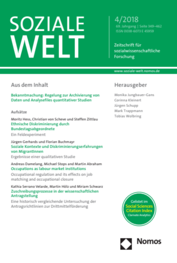 Soziale Welt 69(4) (Cover)