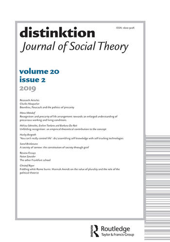 distinktion - Journal of Social Theory (Cover)